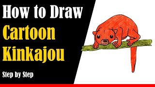 How to Draw a Cartoon Kinkajou - Step by Step