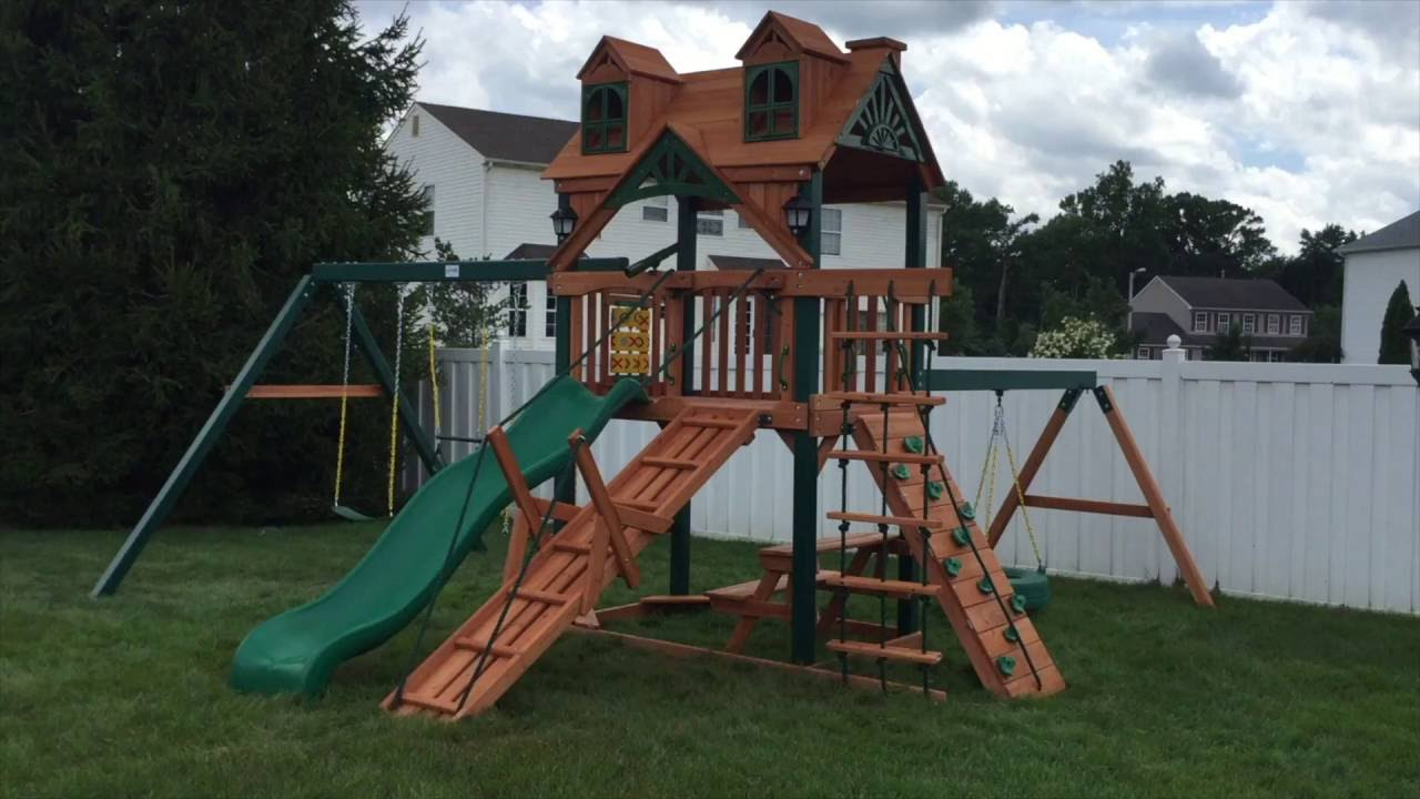 Gorilla Playsets Frontier Malibu Wood Roof Swing Set Youtube