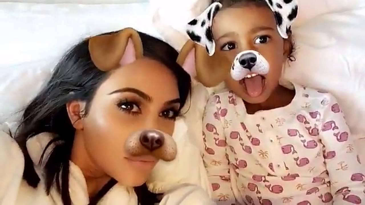[CUTE] Kim Kardashian, North & Saint West Playing With Bee Snapcaht Filter