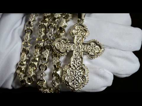 Православный крест из белого золота с сапфирами на цепочке плетение Краб Средний