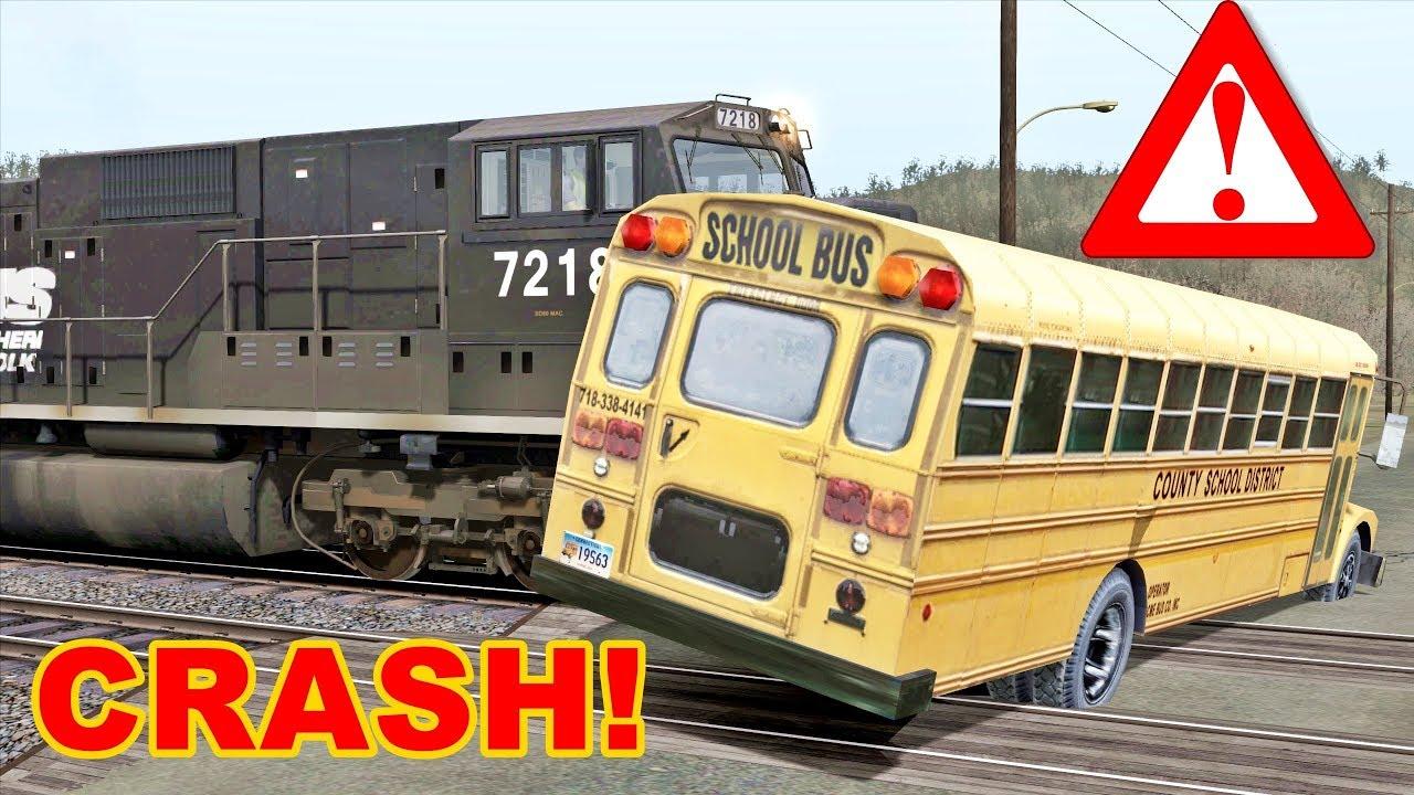 SCHOOL BUS TRAIN CRASH 😵😱