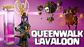 Queen Walk + Lavaloon : TH9 SUPER STRONG WAR ATTACK STRATEGY  Clash of Clans