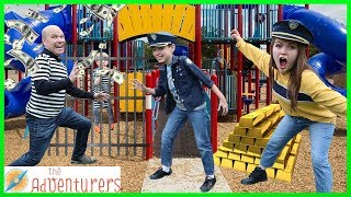 COPS AND ROBBERS - Playground Wars Prison Escape Challenge / That YouTub3 Family I The Adventurers