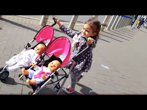Playing with Baby Doll Twin Stroller / Outdoor Playground / Kids Song