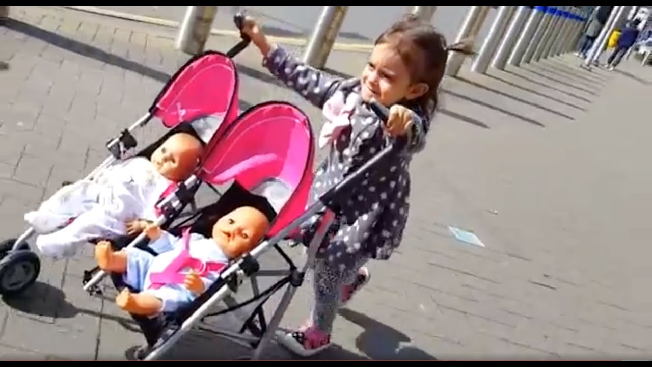 Playing With Baby Doll Twin Stroller Outdoor Playground