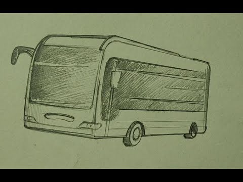 How to draw A Bus with pencil sketch Step by Step