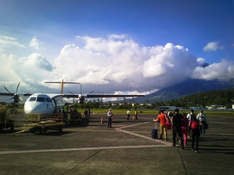 Taking Off from Legazpi Airport and Mayon Volcano