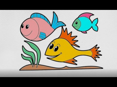 How to Drawing Fish Coloring Fish with Marker Coloring for Kids