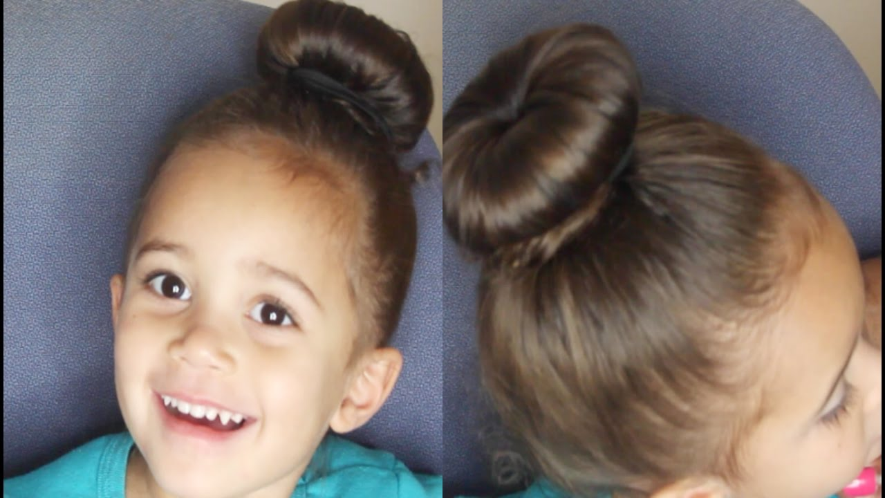 Ballerina Bun On Toddler Girls Hair Cute Hairstyle For Little