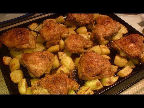 Как приготовить курицу с картошкой на противне в духовке
