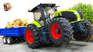 BRUDER TRAKTOR CLAAS Pulls trailer full of bricks! TOYS STORY! #traktor