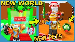 New North Pole World And Holiday Pets In Roblox Blob Simulator Holiday Update!!