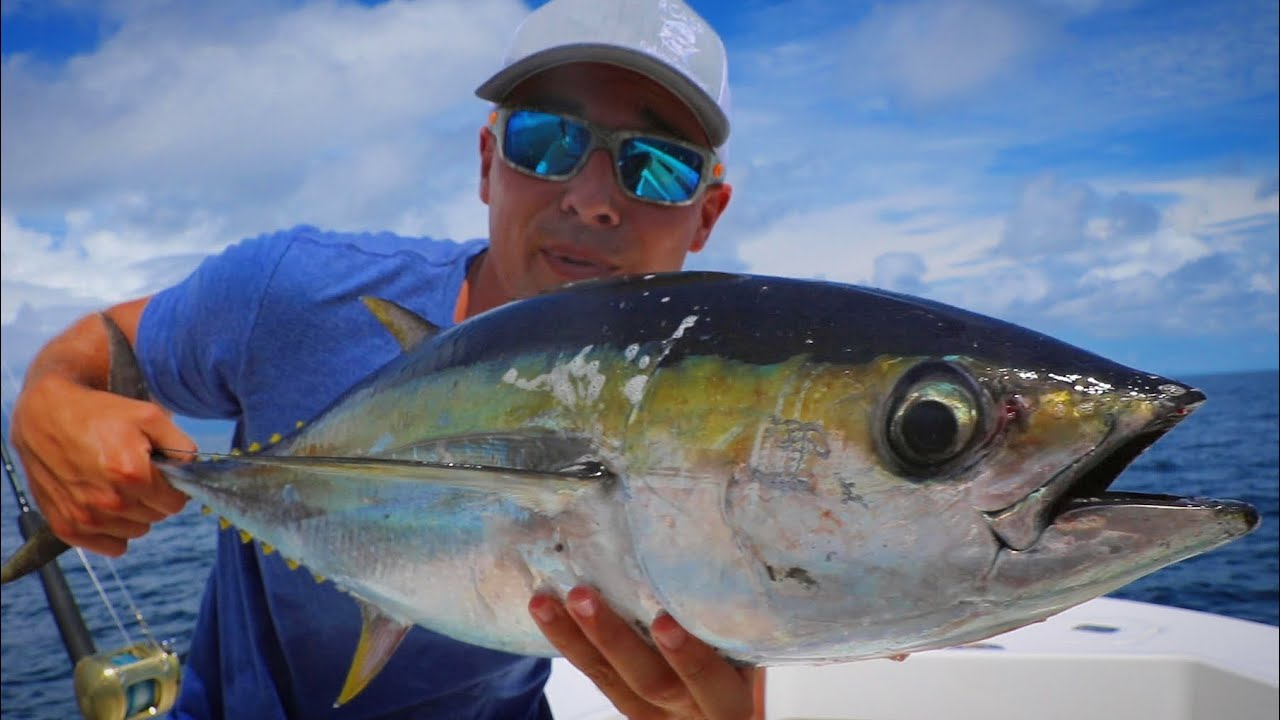 ULTRA Rare Ahi Tuna Caught while Fishing For Black Marlin!!