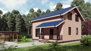 """Проект каркасного дома 10*8 с мансардным этажом, кухней-гостиной и двумя кладовыми от """"Строй и Живи"""""""