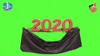 Super 3D Drop Cloth Effect Happy New Year 2020 Green Screen & Footage