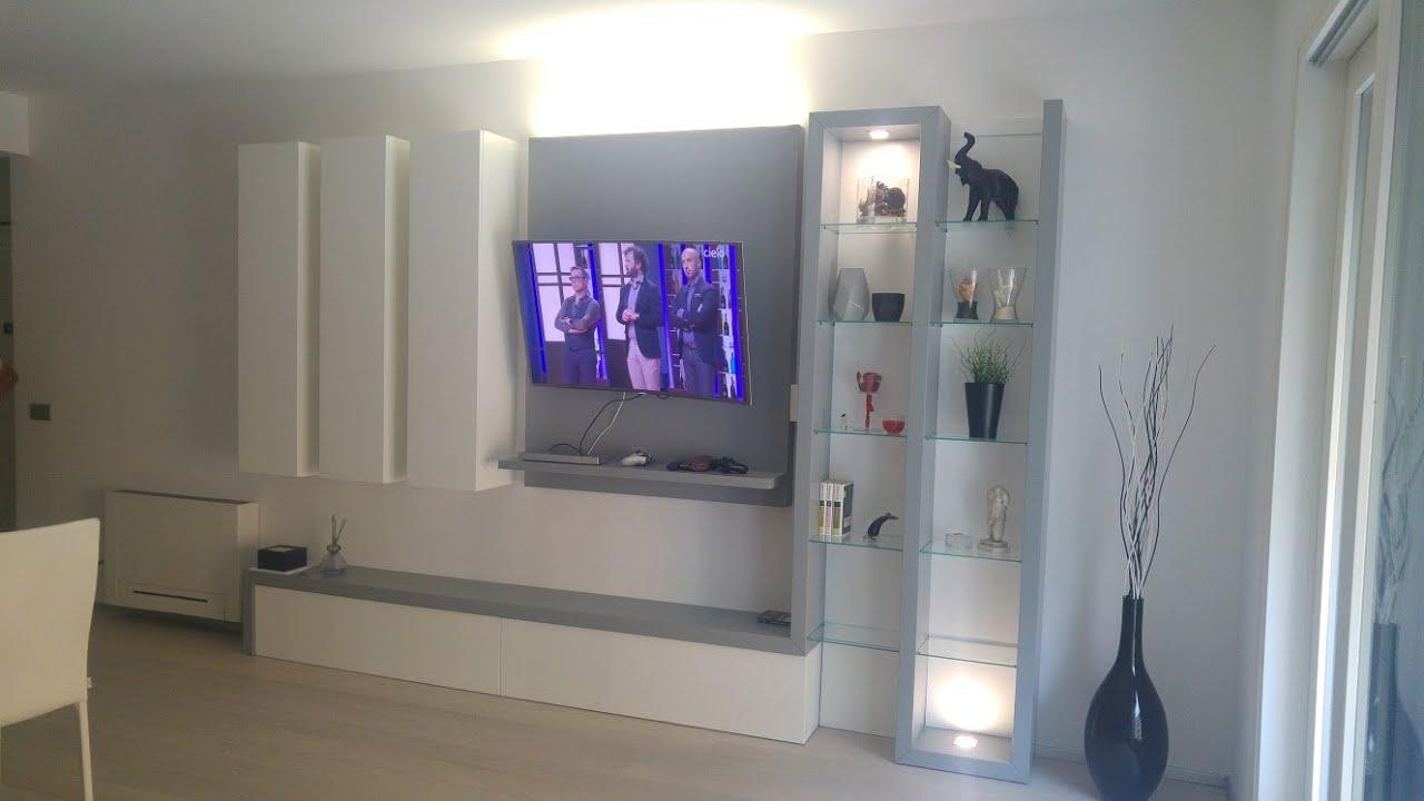 completamento con luci led, della parete attrezzata bicolore - YouTube