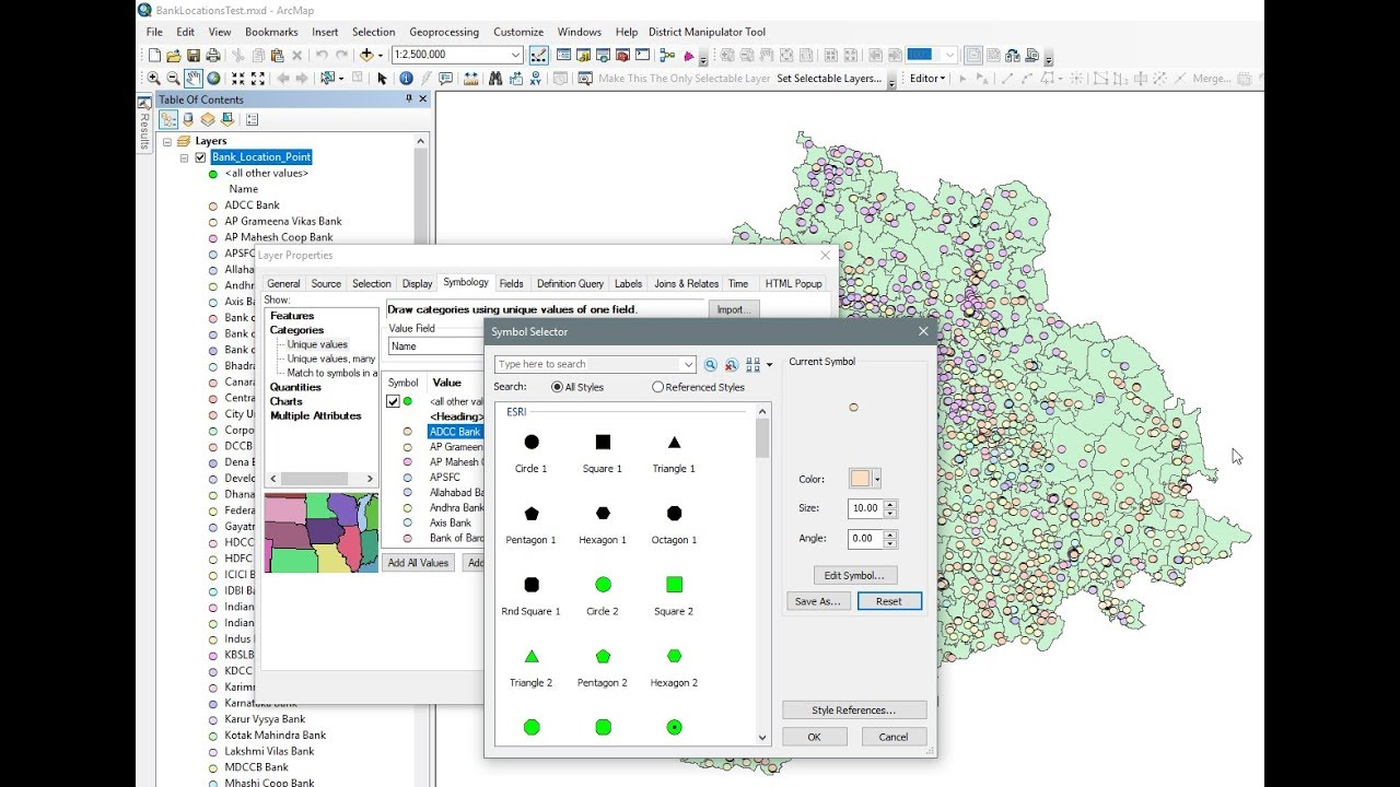 Arcgis 10x Symbology Change The Size And Symbol For All