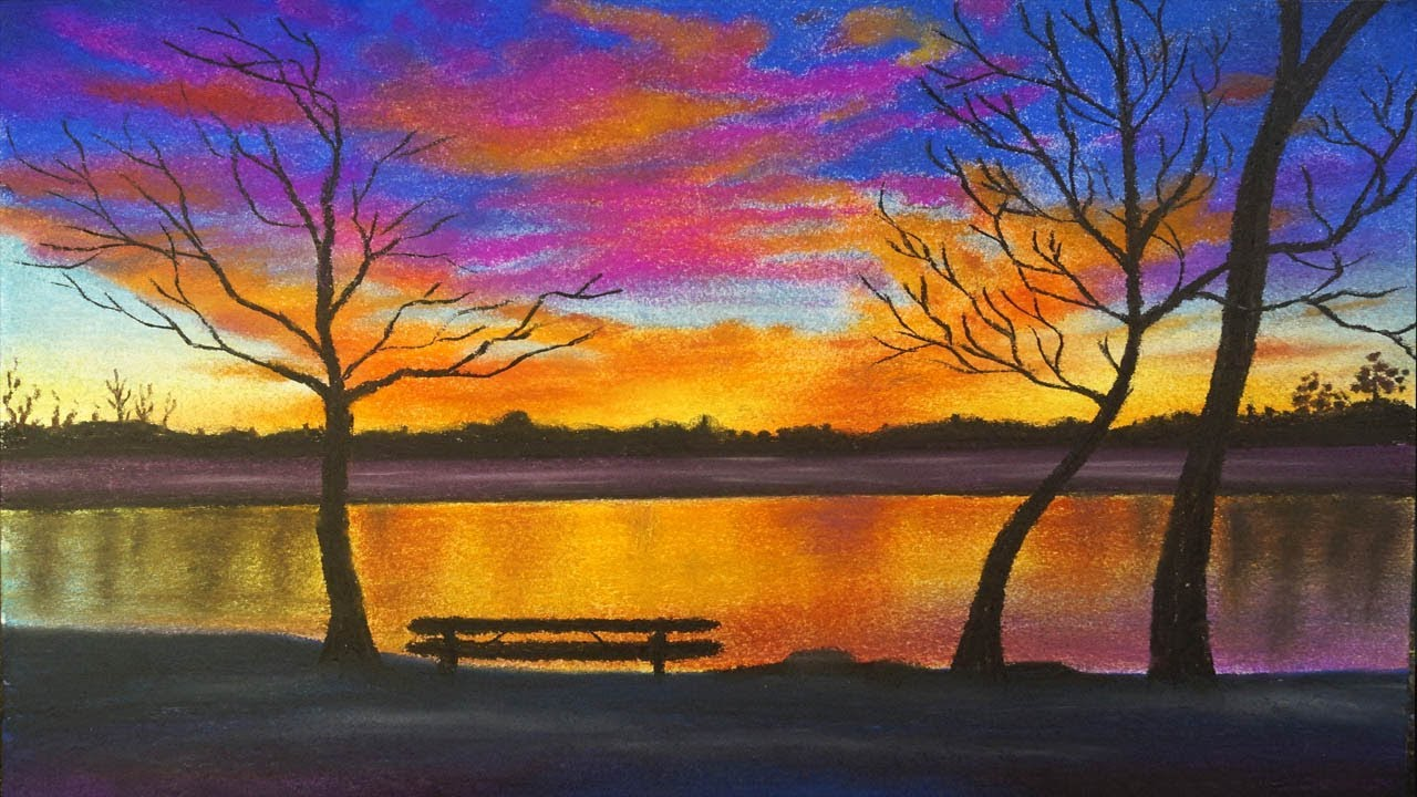 Jacob Aguiar A 24x24 pastel on uart 400 grit based off a ... |Pastel Drawings Of Sunsets