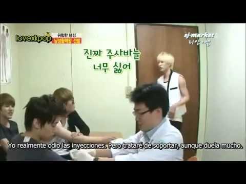 [Sub Español] Super Junior y Eunhyuk asustado por inyeccion