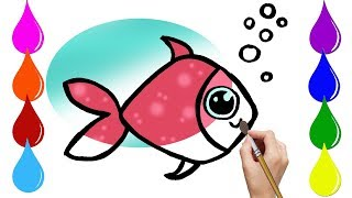💖★ How to Draw sea fish. ♥ ♡ Coloring and Art Colours,Drawing cartoon for Kids.💜♡
