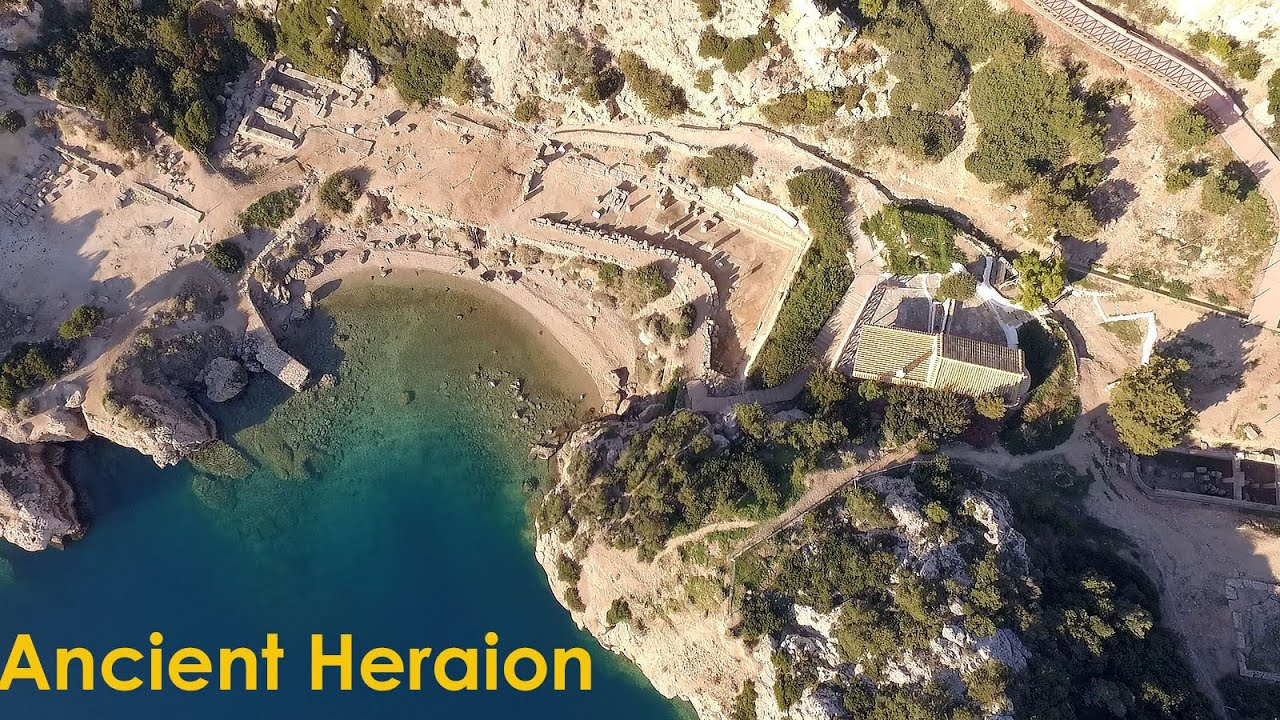 Drone shots / footage of Ancient Heraion and the lighthouse , Gulf ...