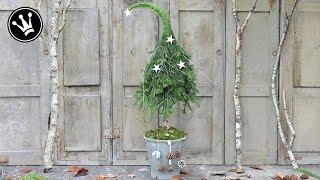 DIY - Weihnachtsdeko selber machen - Tannenbaum mit Zipfelmütze aus Naturmaterial I HowTo/Tutorial