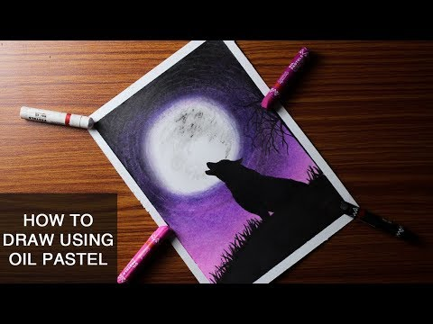 Download How To Draw Scenery Of Moonlight Wolf With Oil Pastel Step
