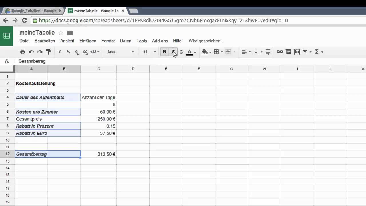 4. Google Drive Tabellen- Eingaben verändern, löschen, rückgängig ...