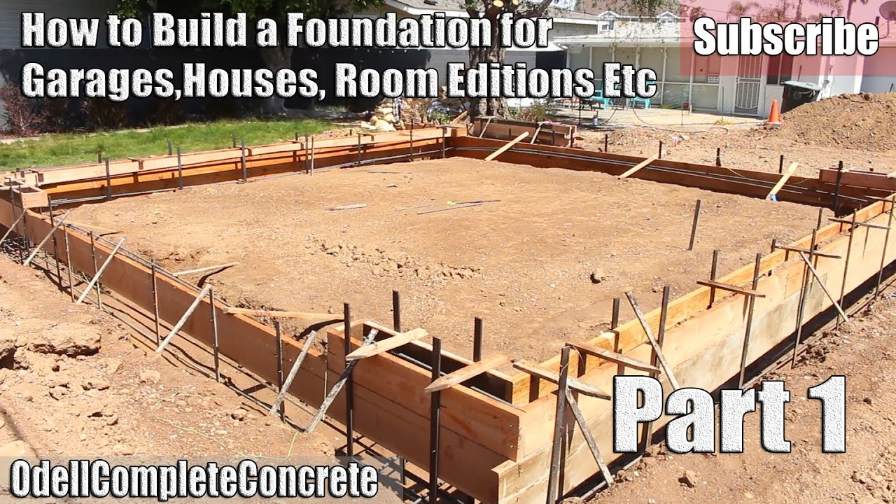How to build and setup a concrete foundation for garages for Cost to build a house in texas