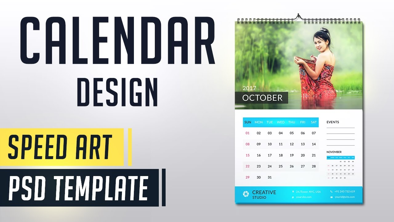 Calendar Design With Pictures : Calendar photoshop speed art monthly