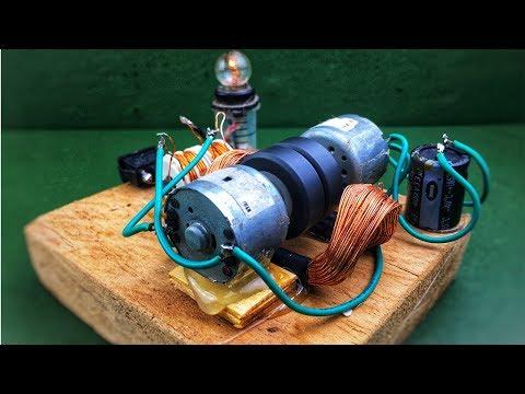 Self running machine free energy generator with light bulb using dc motor (dynamo)