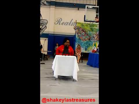 """Shakeyla gives a speech at Arnall Middle School- """"Team work makes the dream work"""""""