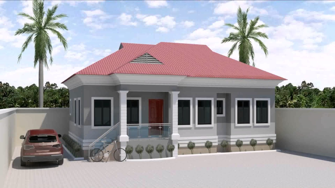 4 bedroom bungalow house design in nigeria youtube for Four bedroom bungalow