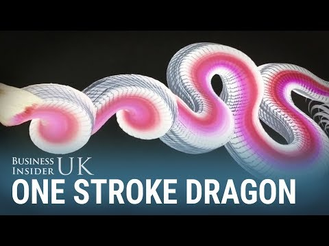 This Japanese artist creates beautiful dragons using a single brush stroke