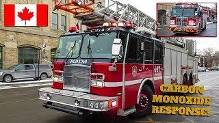 Montréal | Montréal Fire Service (SIM) Pumper 247 & Ladder 447 Responding to Carbon Monoxide Alarm