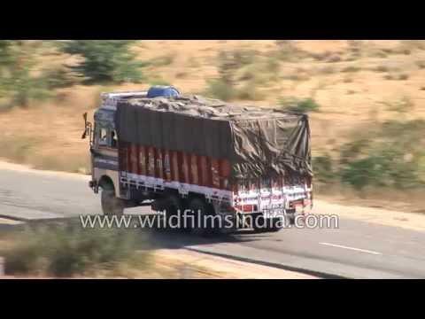 Truck traffic on Jodhpur highway in Rajasthan