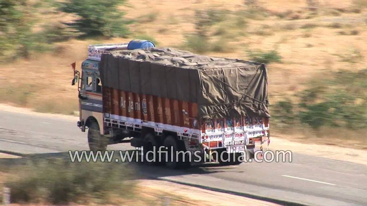 truck traffic on jodhpur highway in rajasthan - youtube