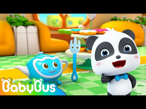 Baby Panda's Tea Party | Naughty Plates & Cakes Sneak out | Learn Sharps for Kids | BabyBus