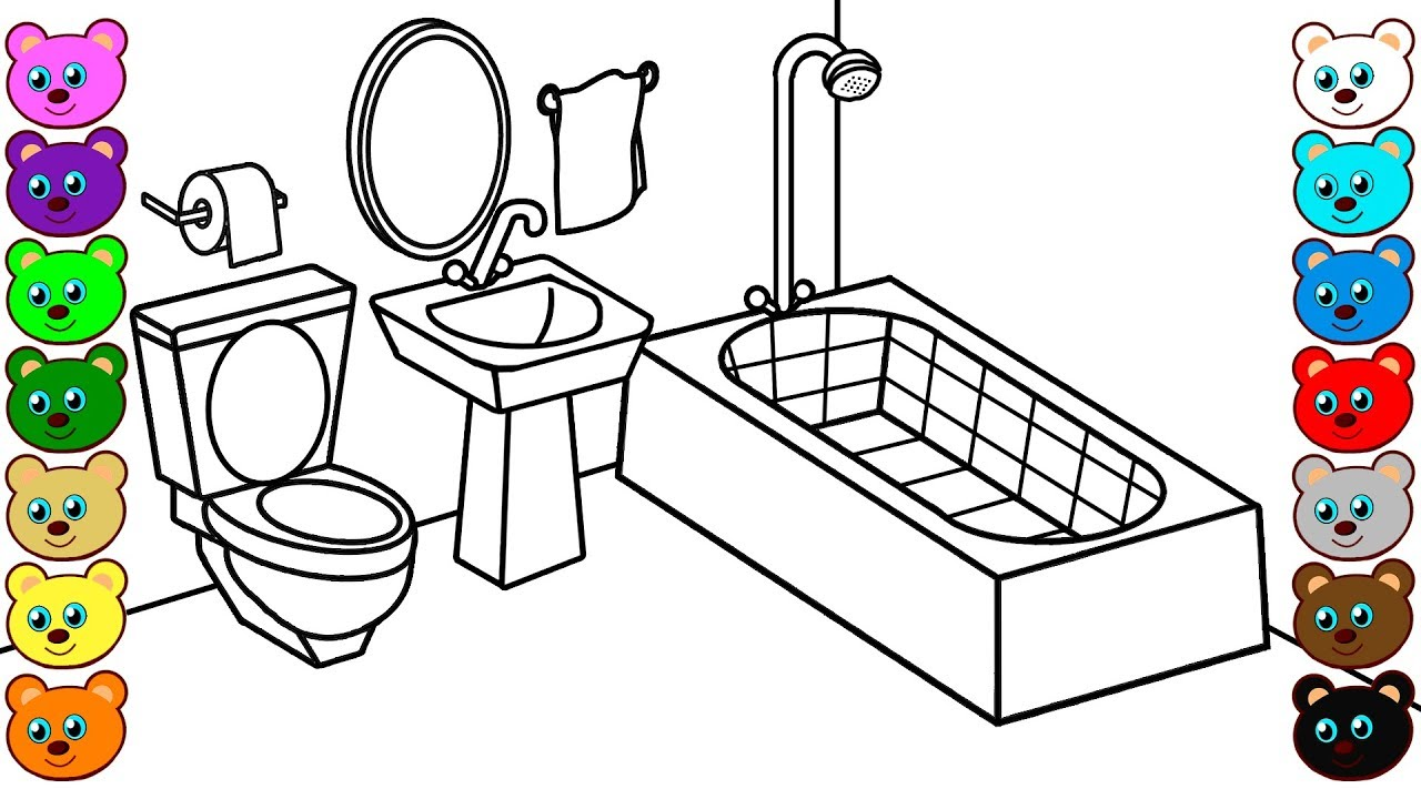 Learn colors for kids with mom and dad 39 s bathroom coloring book for children youtube - Picture of bathroom ...