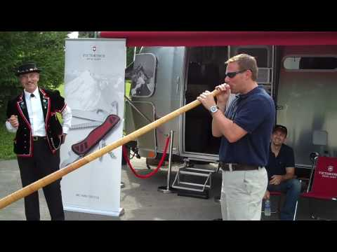 Brian from Swiss Army--Tries the Alphorn