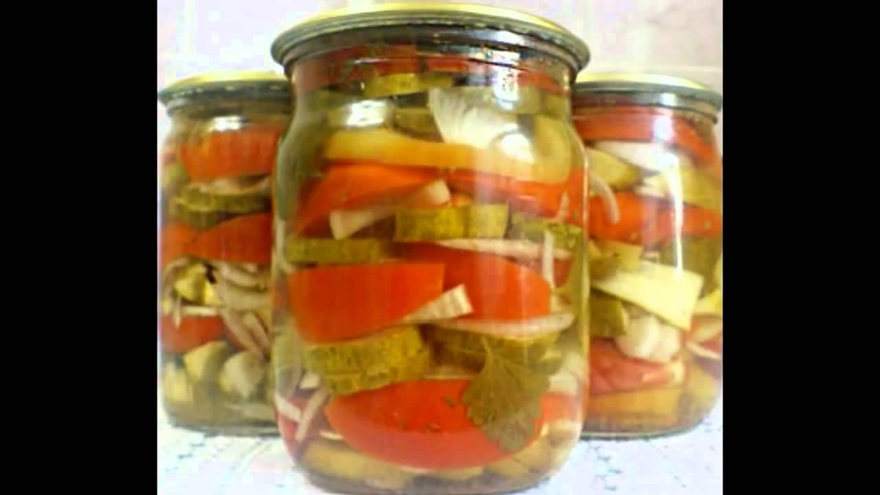Салат «Ассорти» из огурцов и помидоров на зиму. Для ...