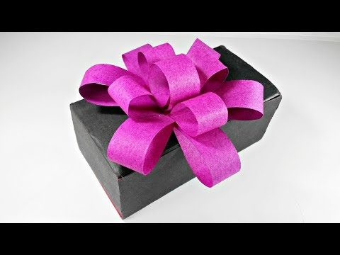 Diy Easy Paper Bow Step by Step for present, for gift, for box, Easy tutorial Step by Step for kids