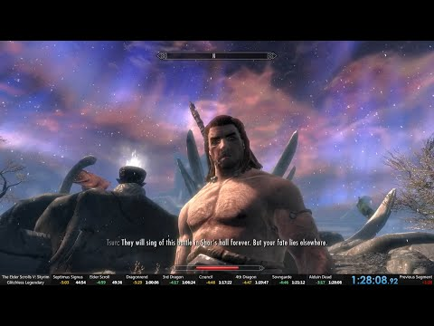 Skyrim legendary difficulty glitchless 1:28:08 World record speedrun