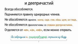 Обособление деепричастных оборотов и деепричастий (8 класс, видеоурок-презентация)