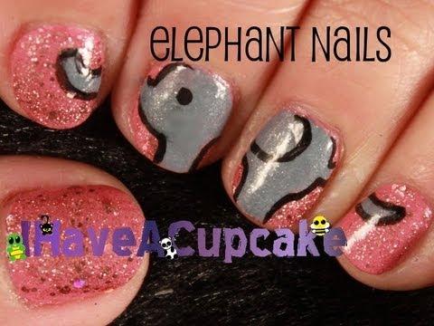 Simple Cute Elephant Nail Art Youtube