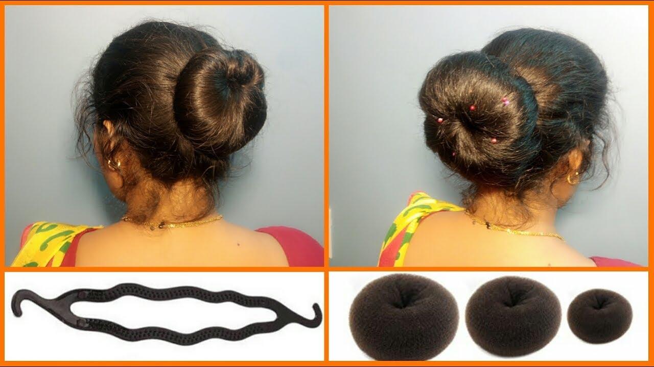 2 different bun hairstyles from donut & clip   doughnut bun tutorial