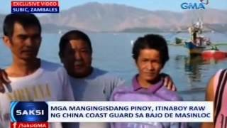 Saksi: Mga mangingisdang Pinoy, itinaboy raw ng China Coast Guard sa Bajo de Masinloc