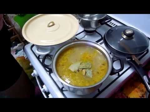 Суп с копчёной колбасой