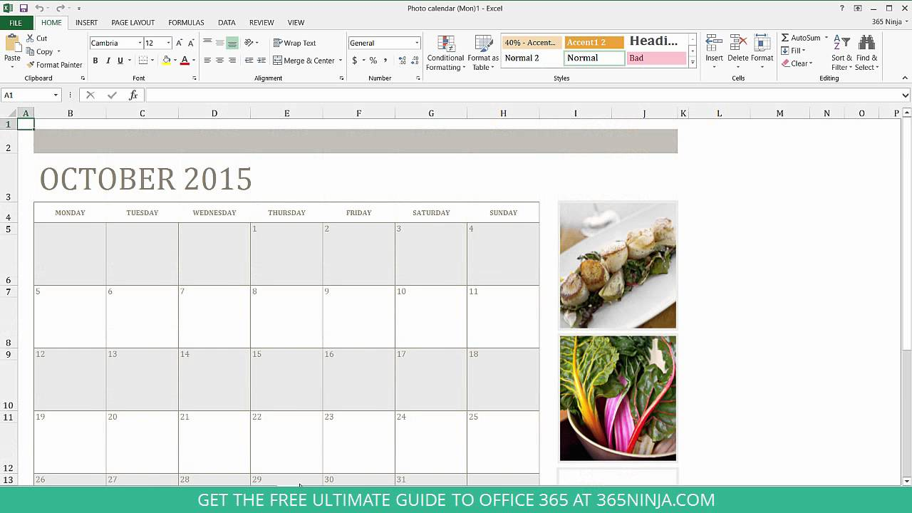 How To Create A Calendar In Excel Youtube