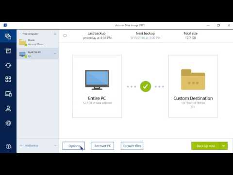 How to set backup options in Acronis True Image
